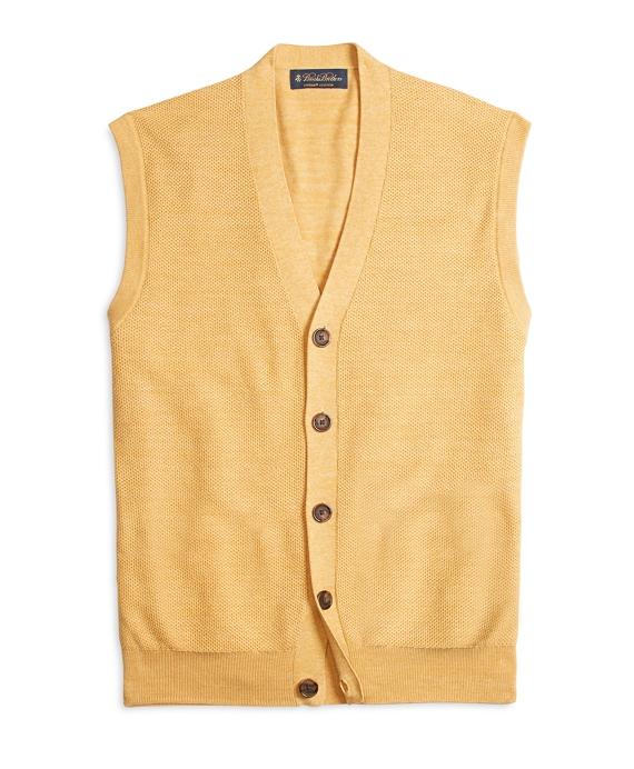 Men's Supima Cotton Bird's-Eye Yellow Sweater Vest | Brooks Brothers