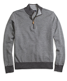 Merino Wool Bird's-Eye Half-Zip Sweater