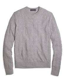Merino Wool Aran Cable Crewneck Sweater