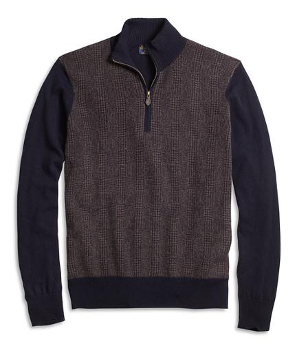 Cashmere Glen Plaid Half-Zip Sweater