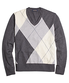 Merino Wool Argyle V-Neck Sweater