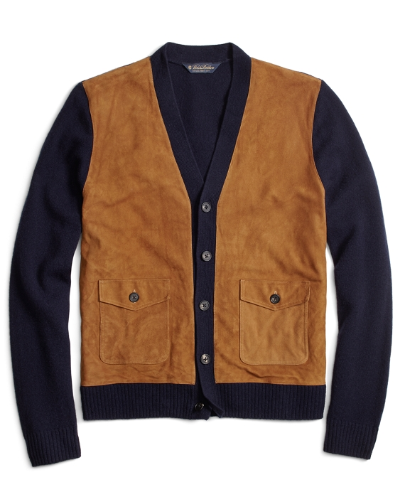 Suede and Lambswool Cardigan Navy