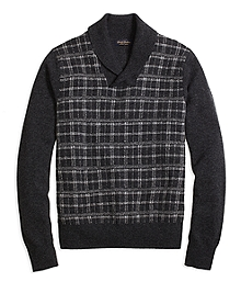 Saxxon Wool Plaid Shawl Collar Sweater
