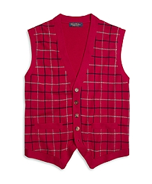 Saxxon Wool Tattersall Button-Front Vest