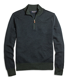 Saxxon Wool Jacquard Half-Zip Sweater