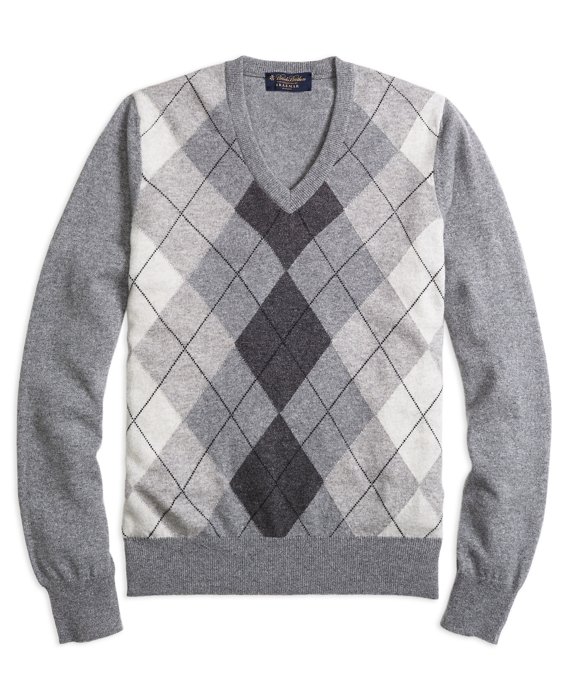 Cashmere Argyle V-Neck Sweater Grey