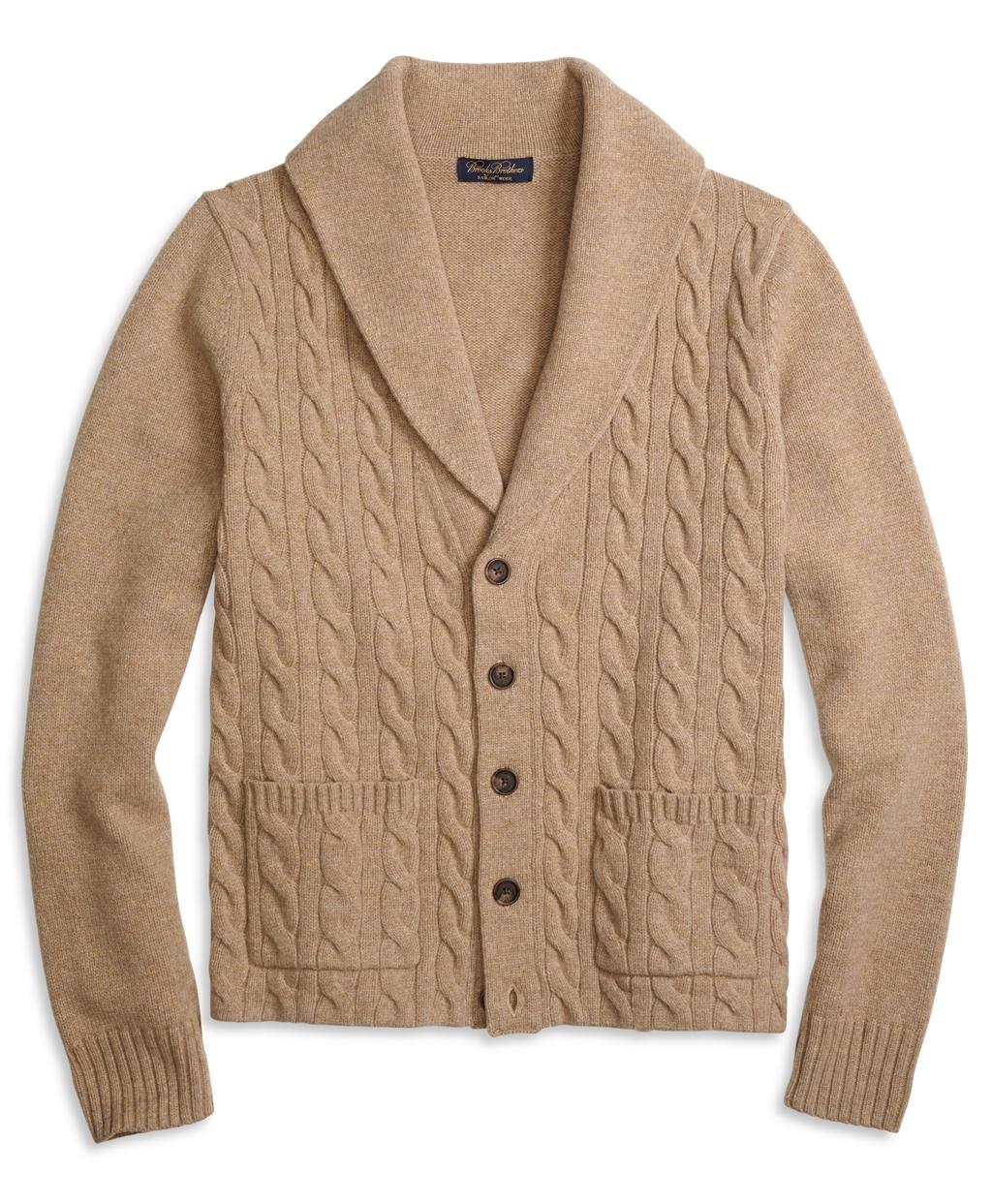 Men's Saxxon Wool Shawl Collar Cable Knit Cardigan | Brooks Brothers