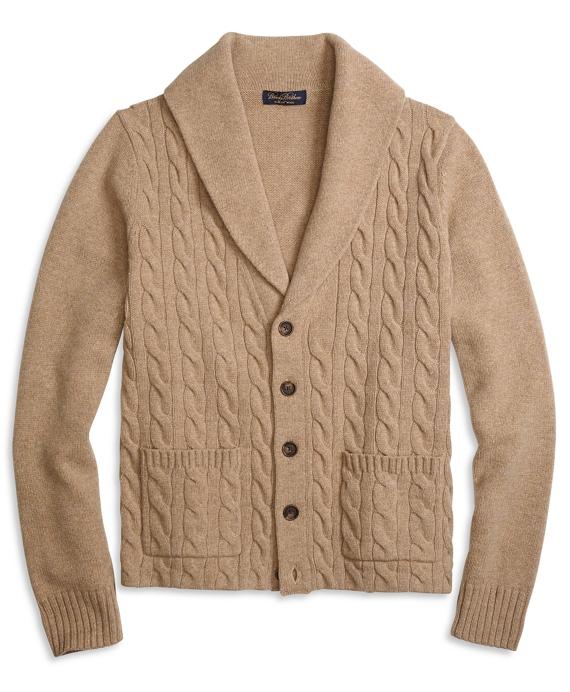 Saxxon Wool Shawl Collar Cable Cardigan Tan