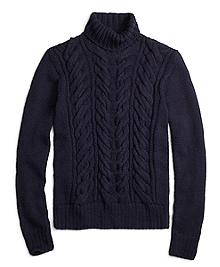 Alpaca Handknit Cable Turtleneck Sweater