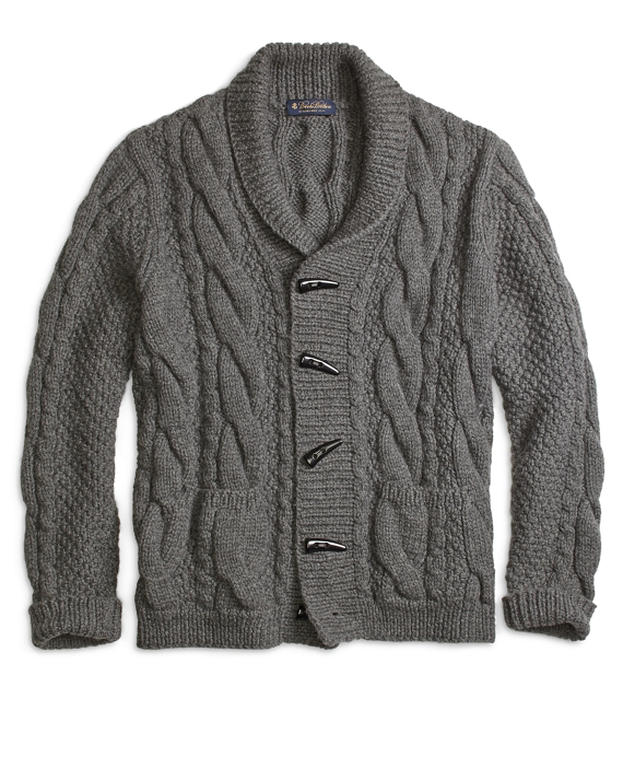Handknit Shawl Collar Cable Cardigan Grey