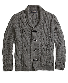 Handknit Shawl Collar Cable Cardigan