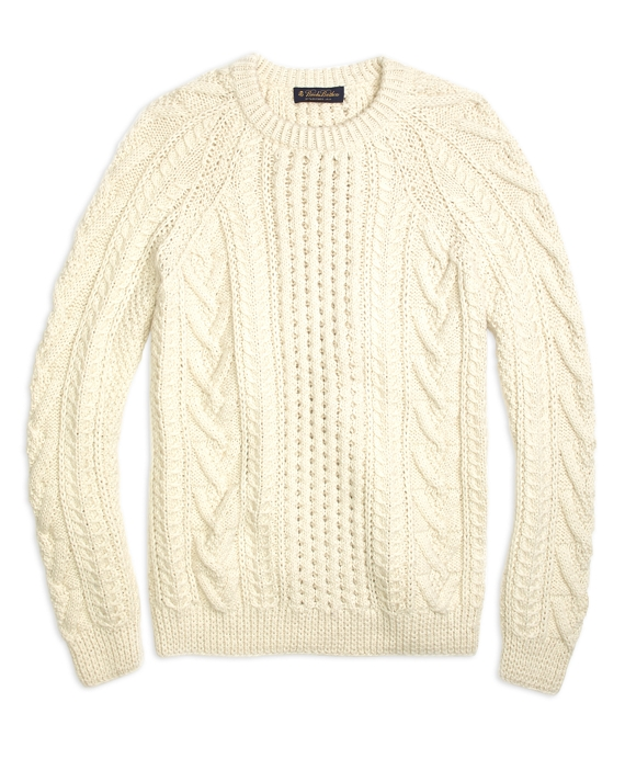 Handknit Aran Cable Crewneck Sweater Cream