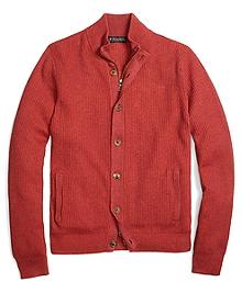 Cotton Cashmere Mockneck Cardigan