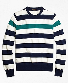 Contrast Chest Stripe Crewneck Sweater