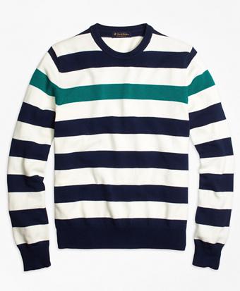 Contrast Chest Stripe Crewneck Sweater