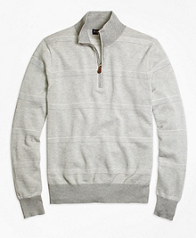 Supima® Cotton Pique-Stitch Stripe Half-Zip Sweater