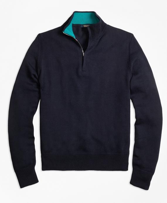 Sea Island Cotton Half-Zip Sweater Navy