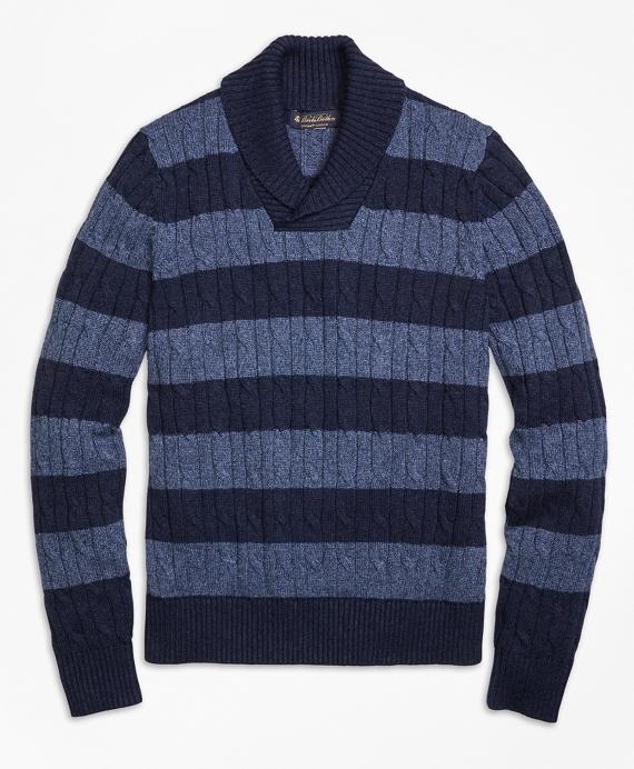 Supima® Cotton Stripe Shawl Collar Sweater Navy