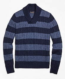 Supima® Cotton Stripe Shawl Collar Sweater