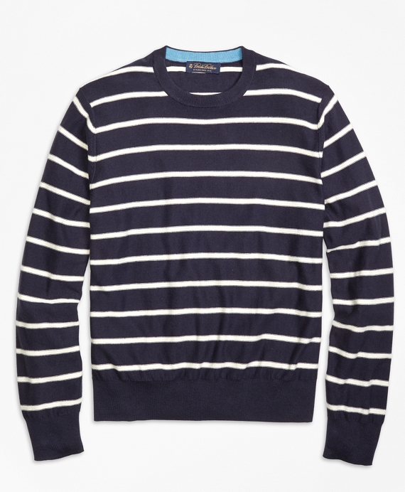 Lightweight Breton Stripe Crewneck Sweater