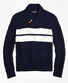 Texture Stitch Chest Stripe Shawl Collar Sweater