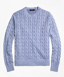 Heathered Cable Knit Crewneck Sweater
