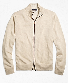 Contrast Tip Full-Zip Cardigan