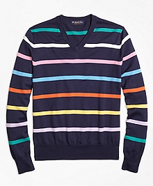 Supima® Cotton Multi Stripe V-Neck Sweater