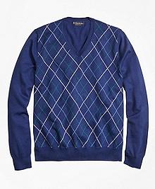 Supima® Cotton Double Raker V-Neck Sweater