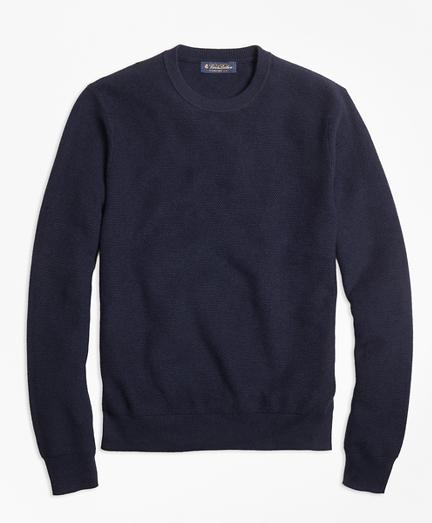 Supima® Cotton Cashmere Textured Crewneck Sweater