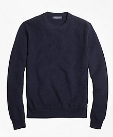 Supima® Cotton Cashmere Textured Crewneck Sweater