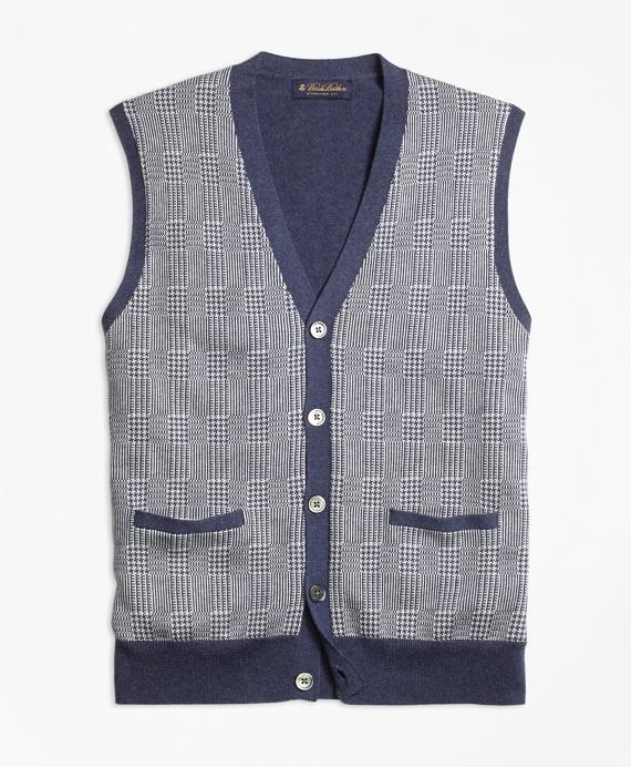 Supima® Cotton Cashmere Glen Plaid Button-Front Vest