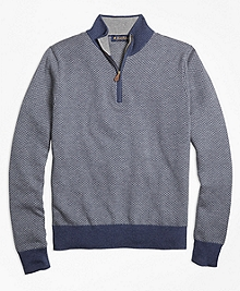 Supima® Cotton Cashmere Herringbone Half-Zip Sweater
