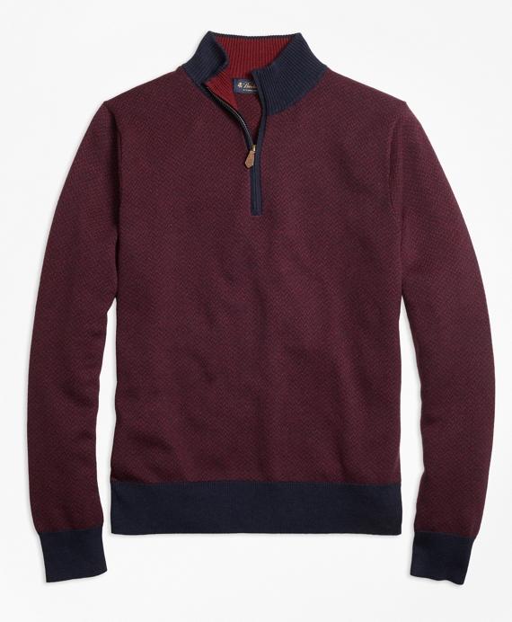 Supima® Cotton Cashmere Herringbone Half-Zip Sweater