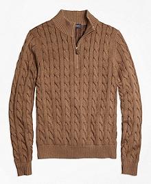 Supima® Cotton Cashmere Cable Half-Zip Sweater