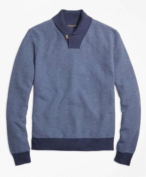 Supima® Cotton Cashmere Honeycomb Shawl Collar Sweater Blue