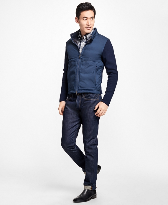 Merino Wool Hybrid Sweater Jacket Navy