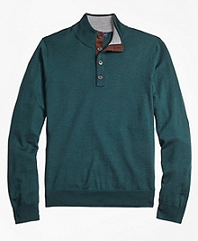 Saxxon Wool Button Mockneck Sweater