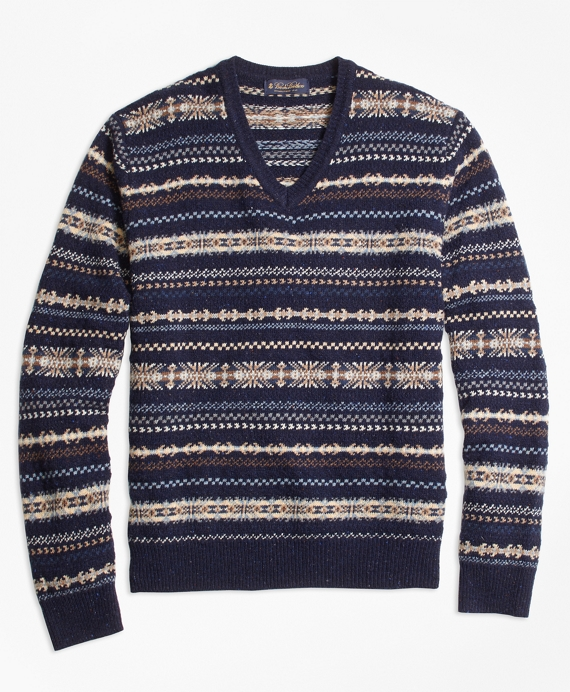 Edwardian Men's Shirts & Sweaters Heritage Fair Isle V-Neck Sweater $228.00 AT vintagedancer.com