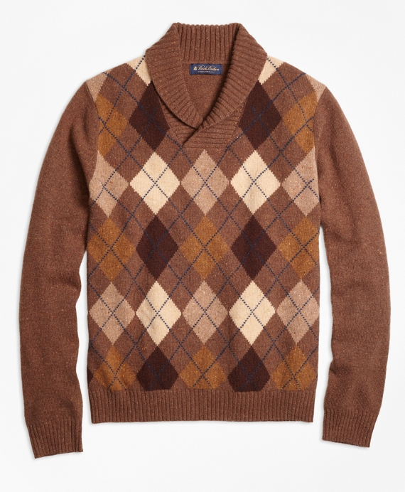 Edwardian Men's Shirts & Sweaters Heritage Argyle Shawl Collar Sweater $268.00 AT vintagedancer.com