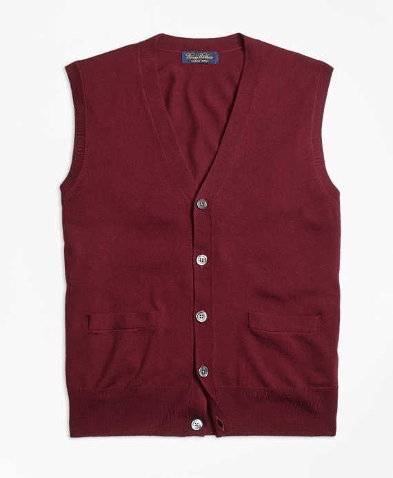 Saxxon Wool Button-Front Sweater Vest - Brooks Brothers