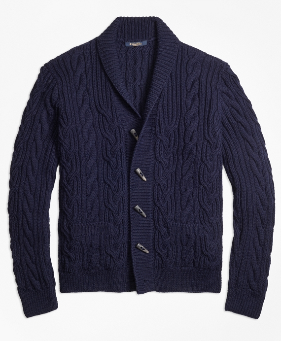 Handknit Twisted Cable Cardigan Navy