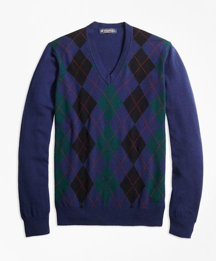 Cashmere Argyle V-Neck Sweater