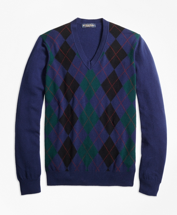 Cashmere Argyle V-Neck Sweater Multi