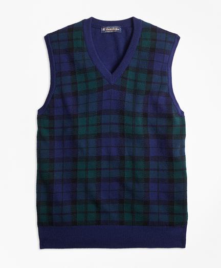 Cashmere Black Watch Plaid Vest