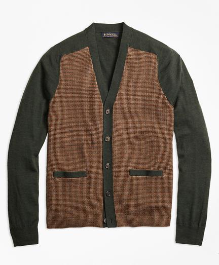 Merino Wool Gun Check V-Neck Cardigan