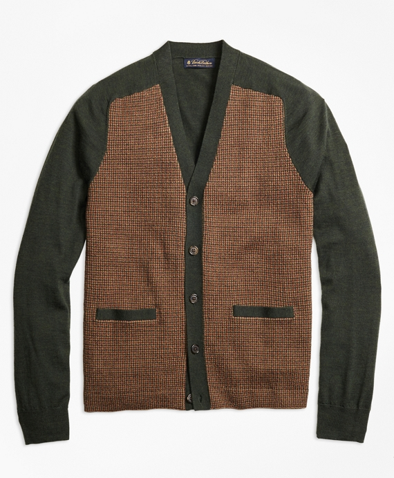 Men's Vintage Style Sweaters – 1920s to 1960s Merino Wool Gun Check V-Neck Cardigan $198.00 AT vintagedancer.com