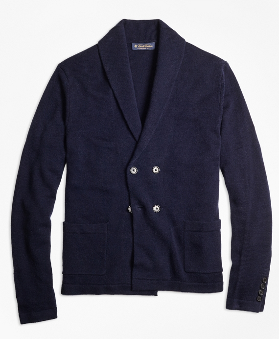 Double-Breasted Wool Cashmere Blend Shawl Collar Blazer