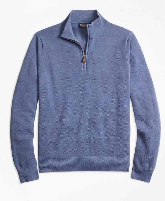Cotton Cashmere Pique Half-Zip Sweater