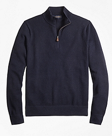 Cotton Cashmere Pique Half-Zip Sweater